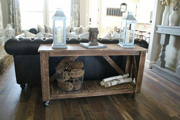 Diy tables for every room in your home her tool belt for Sofa table on wheels