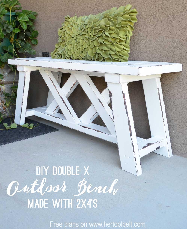 Double x bench plans her tool belt for Garden room 2x3