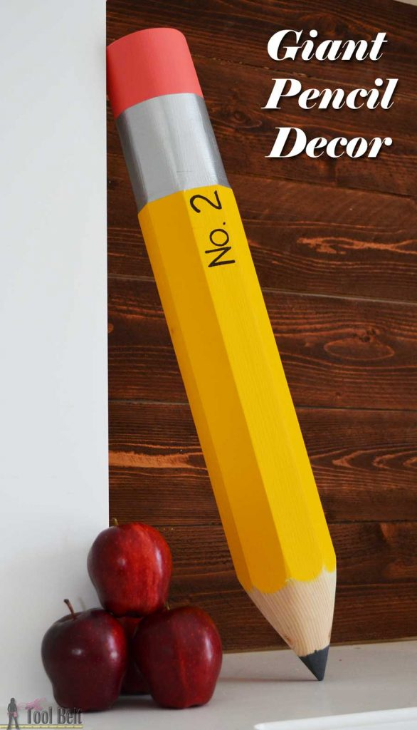 Giant pencil decoration perfect for your classroom, playroom or for your favorite budding writer. Made from a simple 4x4 piece of wood.