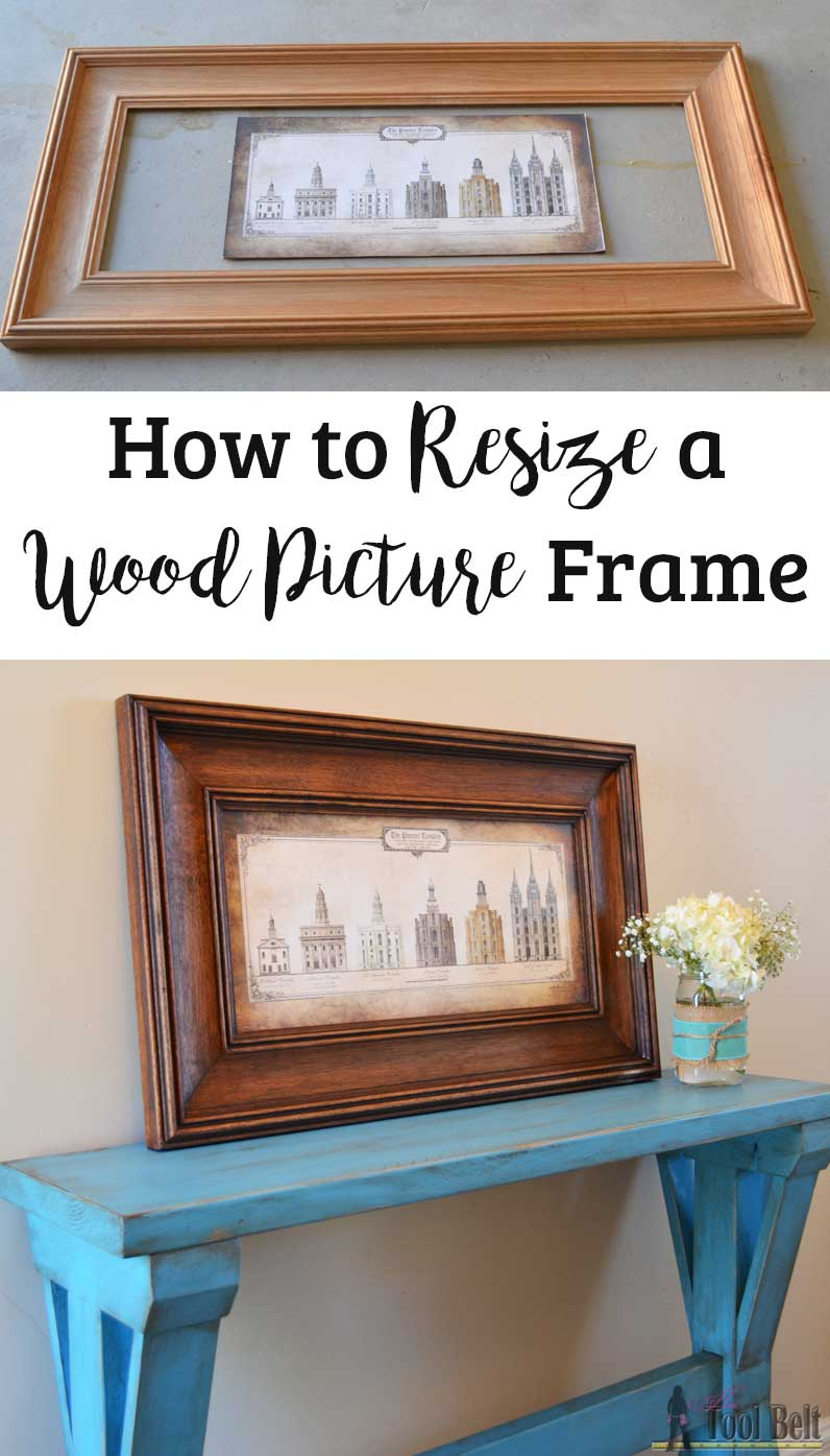 How to resize a wood picture frame her tool belt when the wrong sized picture frame is too good of a deal to pass up jeuxipadfo Gallery