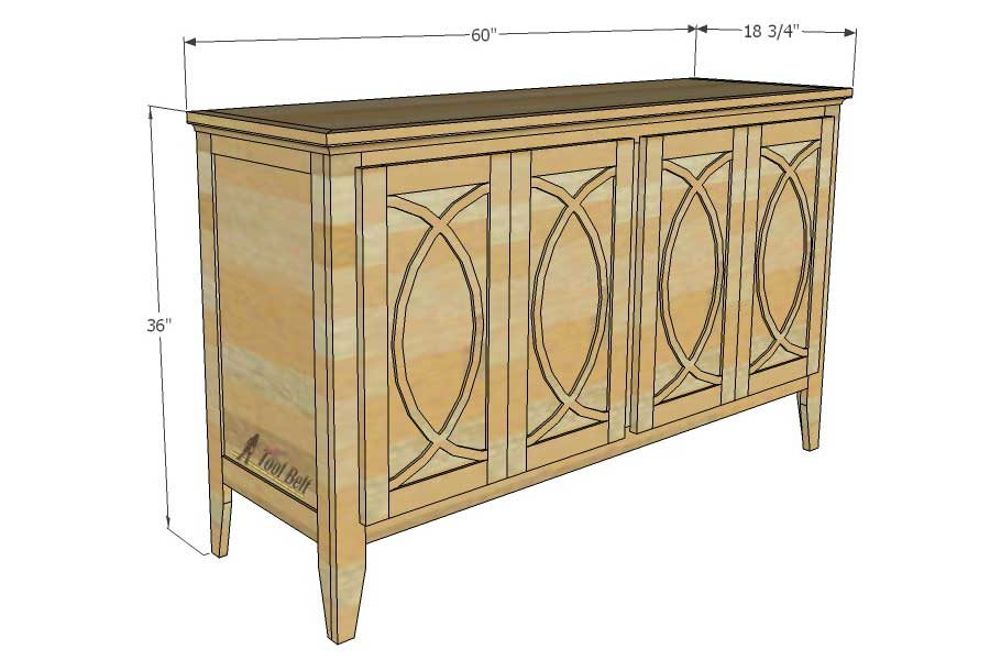 Diy Buffet Sideboard With Circle Trim Doors Her Tool Belt