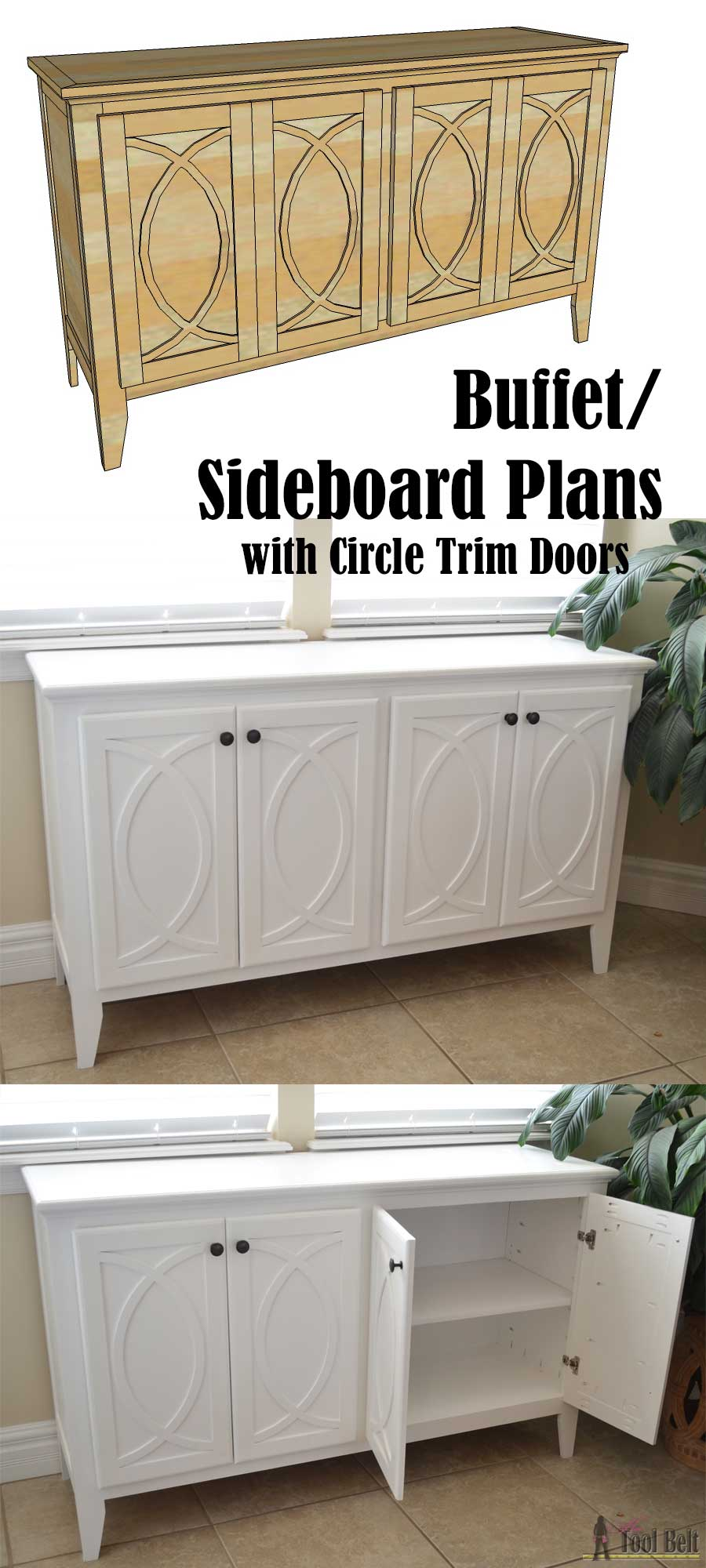 diy buffet sideboard with circle trim doors her tool belt. Black Bedroom Furniture Sets. Home Design Ideas