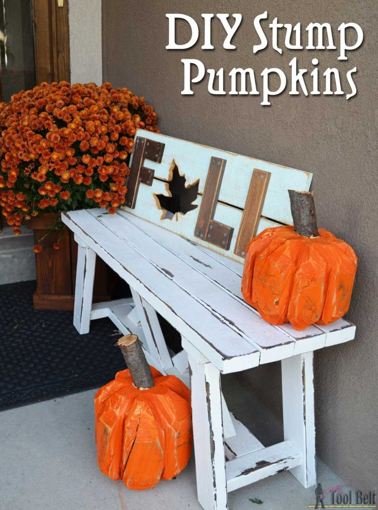 Make a simple and rustic 'Stump Pumpkin' or 'Log Pumpkin' from a wood stump. Use a chain saw to cut a simple chamfer along the top and bottom of a log for one pumpkin look. Add ribs around the stump for a more detailed rustic pumpkin. Cheap and cute Fall or Halloween craft.