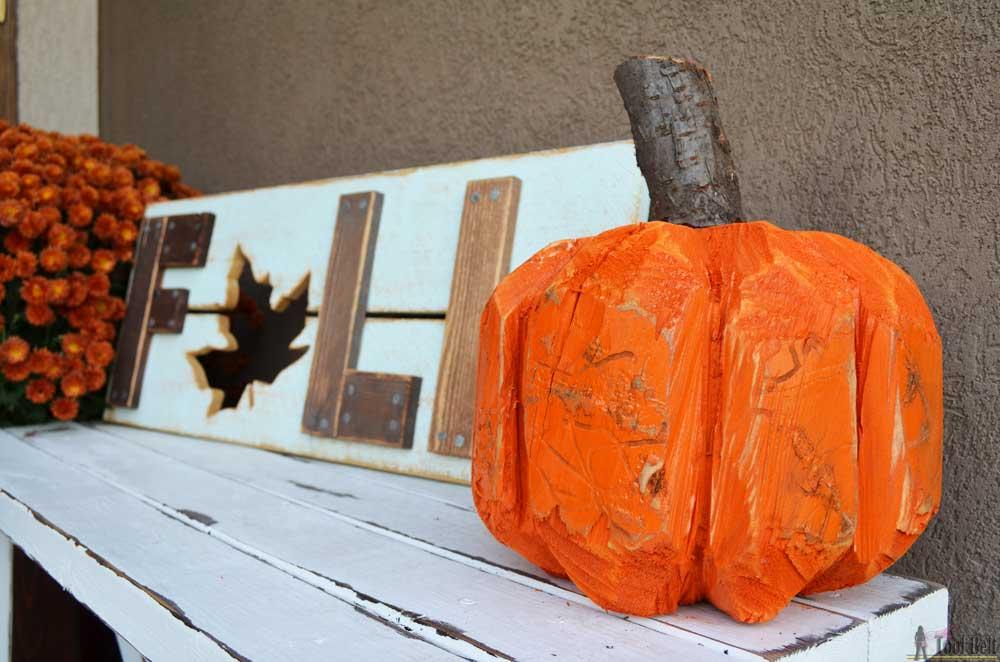 Stump Pumpkin Log Pumpkin Her Tool Belt