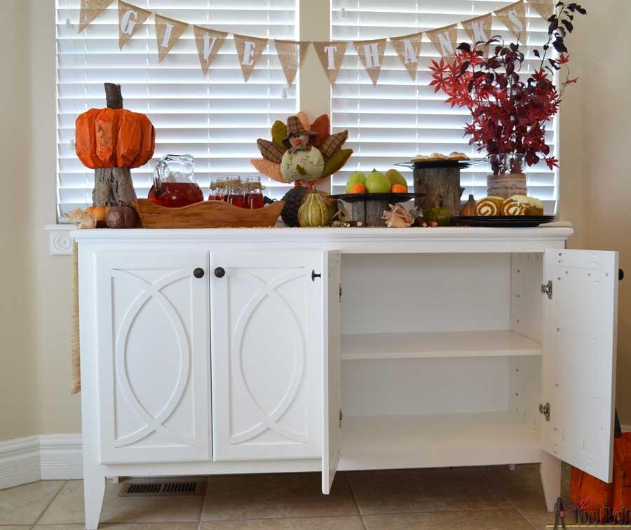 Open Kitchen Buffet: DIY Buffet-Sideboard With Circle Trim Doors
