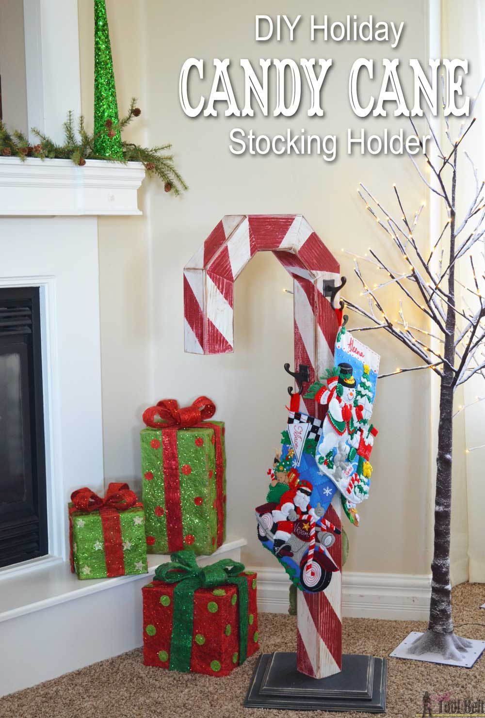 Candy cane holiday stocking post her tool belt this is a perfect way to hang my christmas stockings without a mantel free plans solutioingenieria Image collections