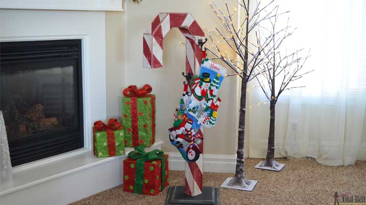 Candy Cane Holiday Stocking Post Her Tool Belt