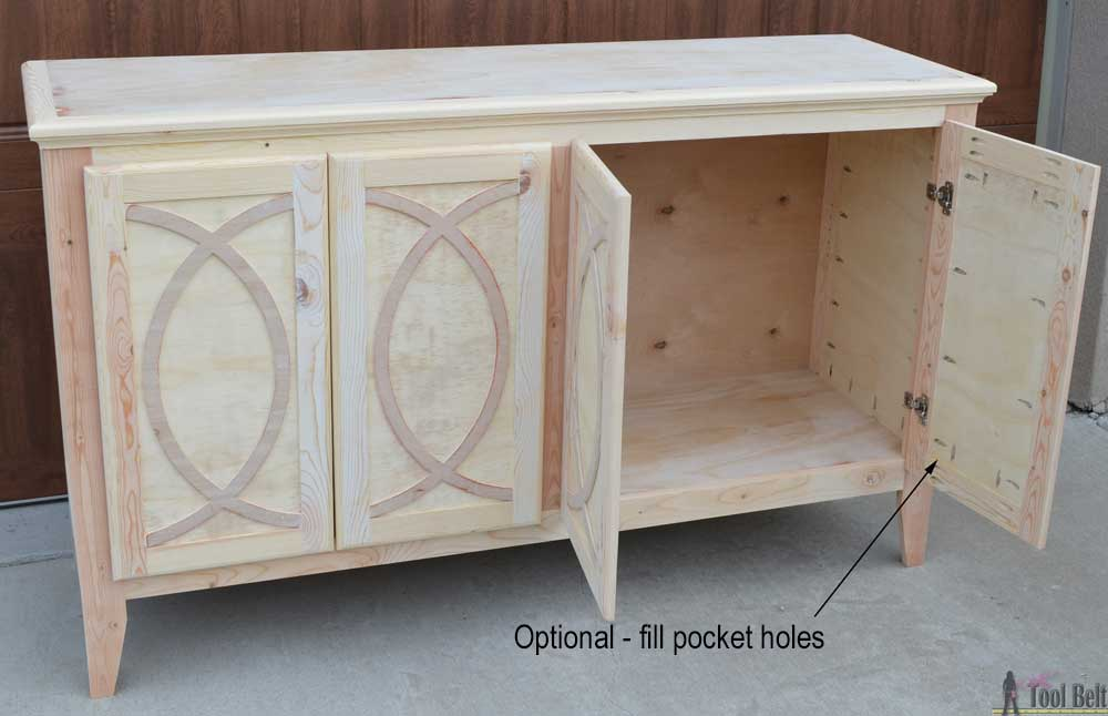 DIY Buffet-Sideboard with Circle Trim Doors - Her Tool Belt