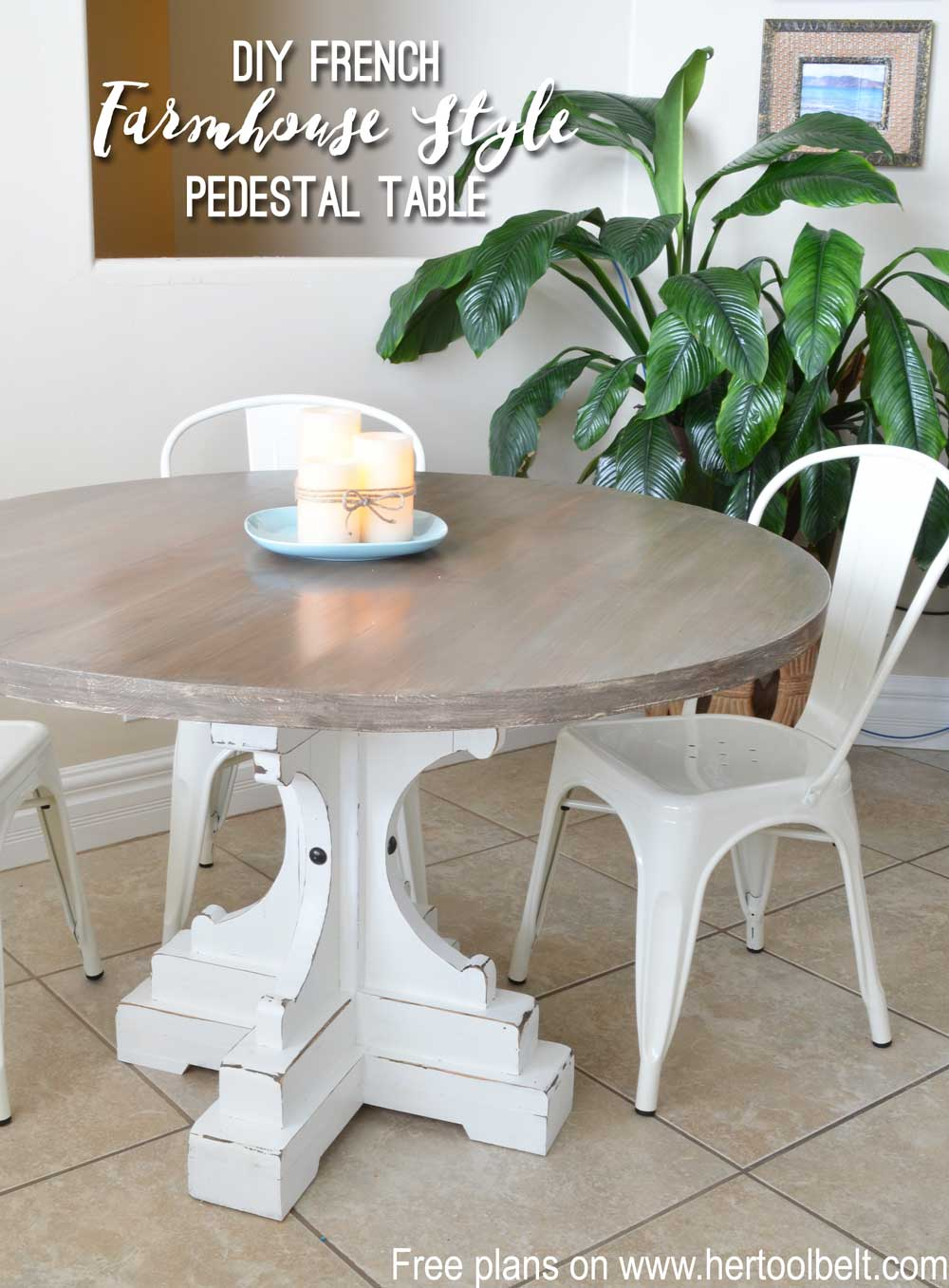 Farmhouse Style Round Pedestal Table Her Tool Belt - White pedestal table with leaf