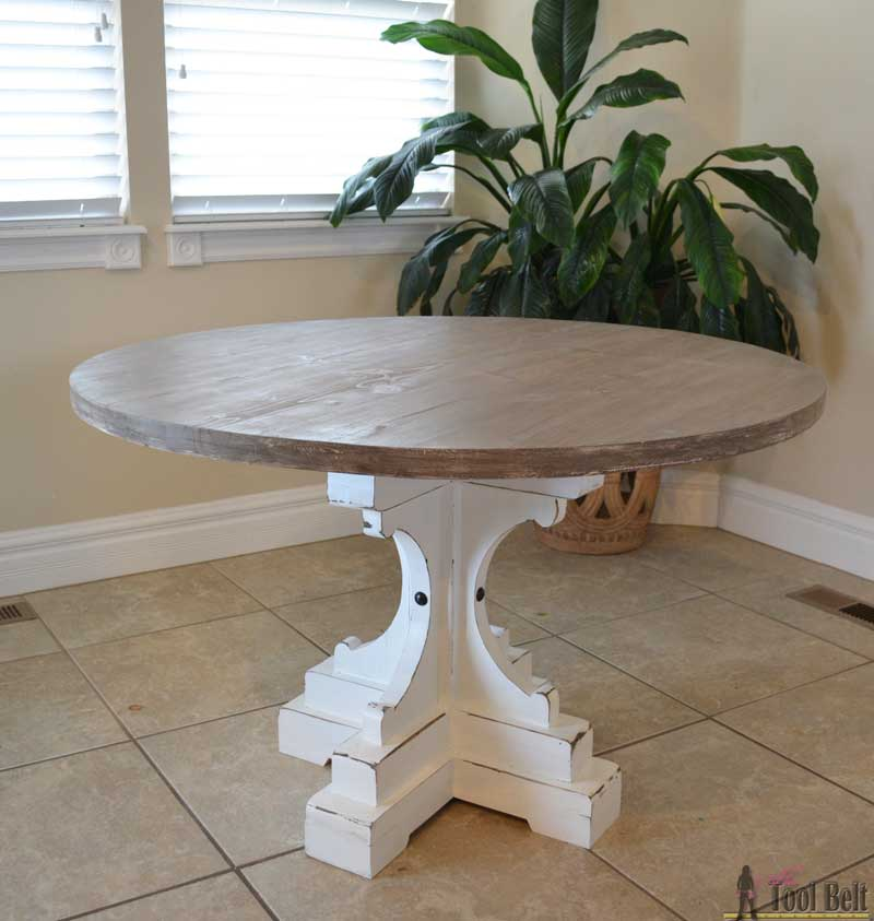 Farmhouse style round pedestal table her tool belt Pedestal farmhouse table plans