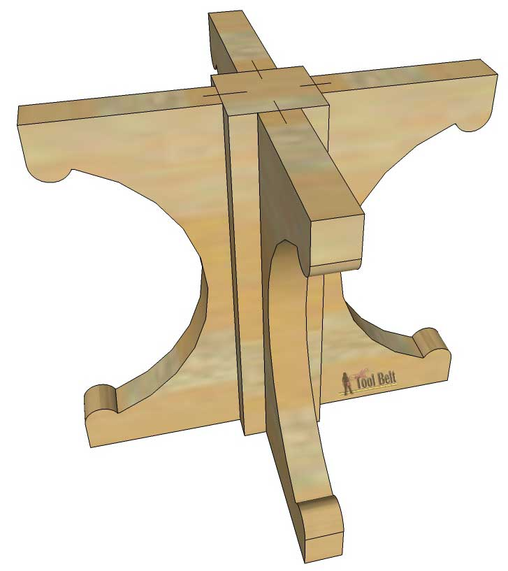 Farmhouse style round pedestal table her tool belt for Farm table woodworking plans