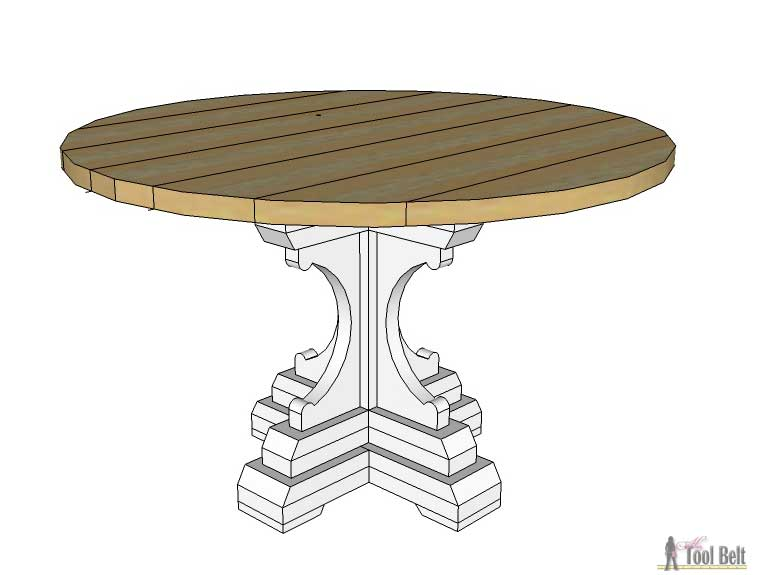 Farmhouse style round pedestal table her tool belt for Diy circle table
