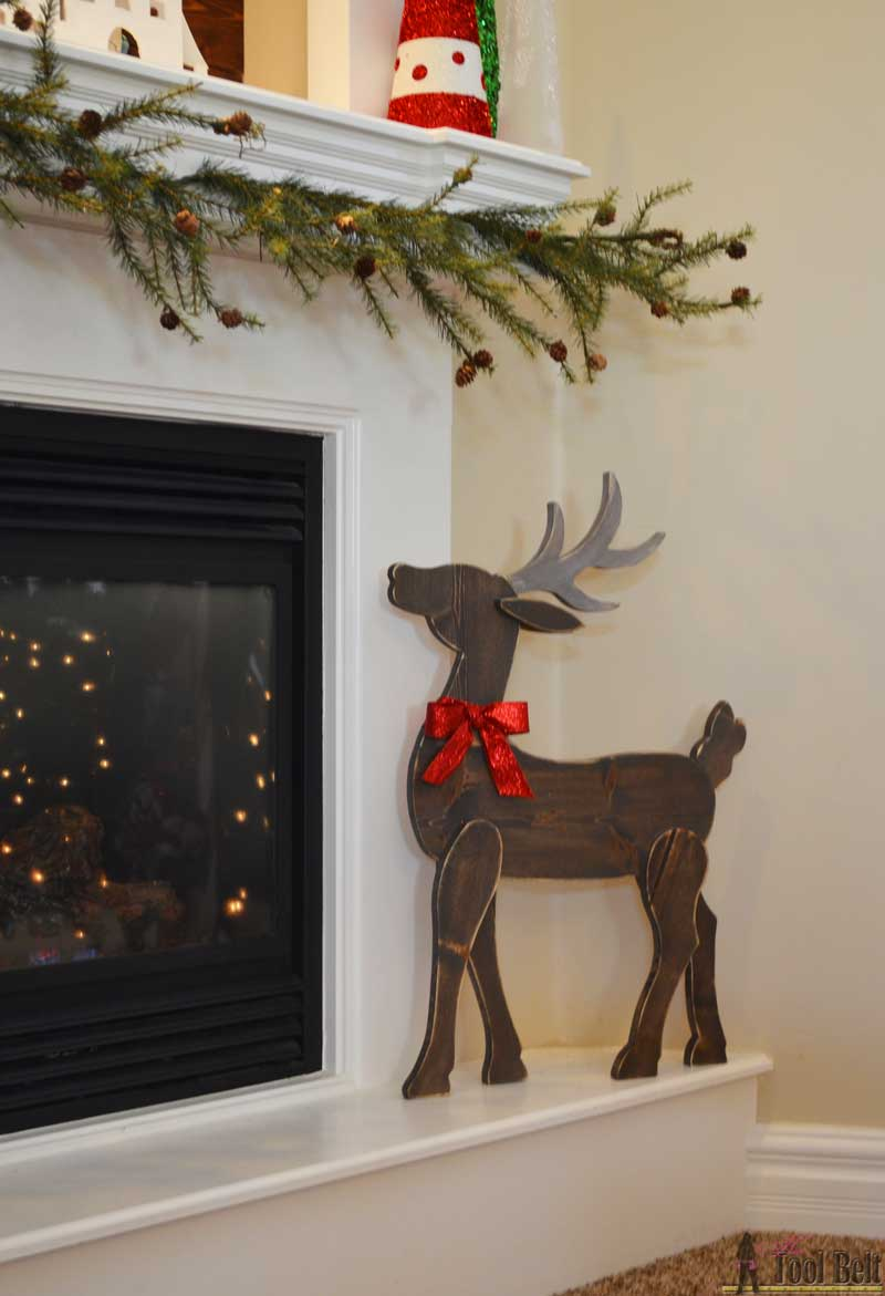 make a cute diy wood reindeer from a simple 1x8 board free printable pattern - Diy Wood Christmas Decorations