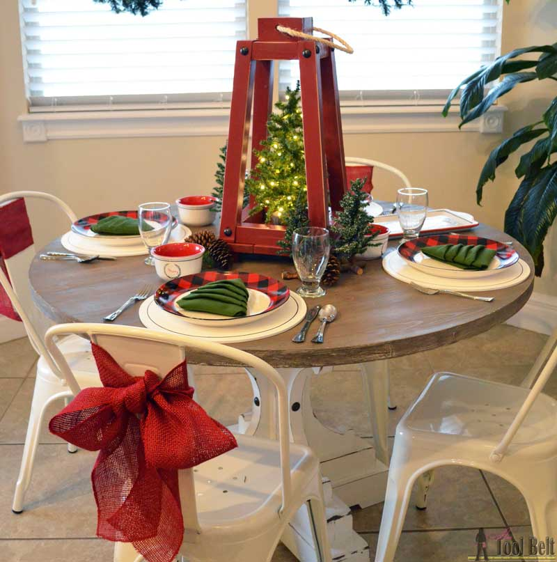 Simple red & black buffalo check and pine tree Christmas table decor. Plus a holiday tablescape tour for lots of fun and festive table ideas.