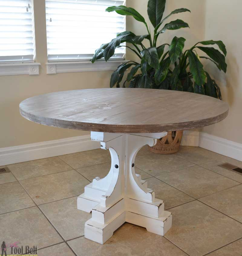 Farmhouse style round pedestal table her tool belt for Diy round farmhouse table plans