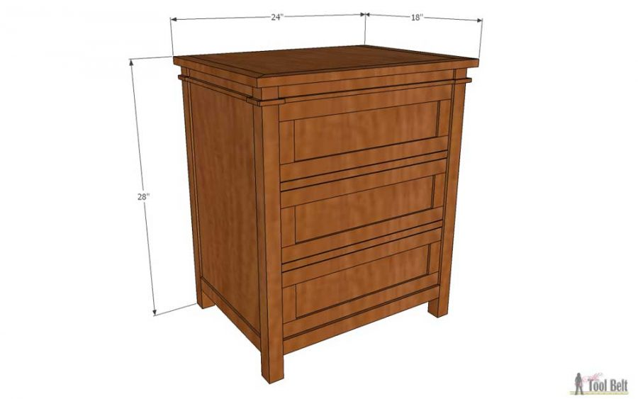 Free plans for 3 drawer nightstand at Buildsomething.com
