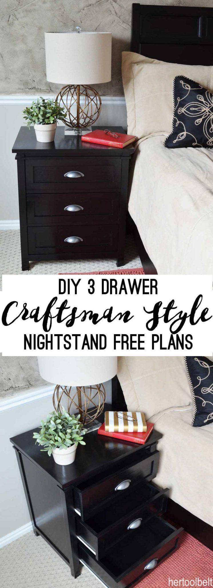 Diy Craftsman 3 Drawer Nightstand Her Tool Belt