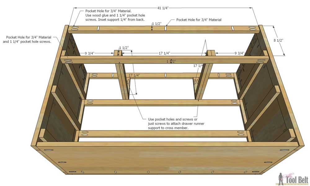 Attach the drawer runners onto the drawer runner support boards. The ...