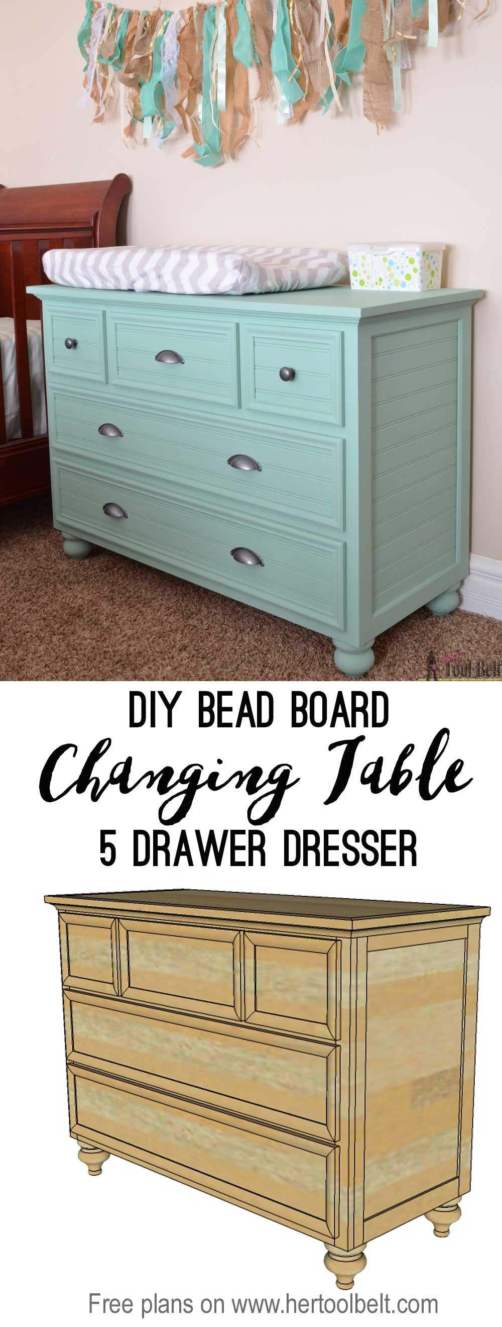 5 drawer dresser changing table her tool belt. Black Bedroom Furniture Sets. Home Design Ideas