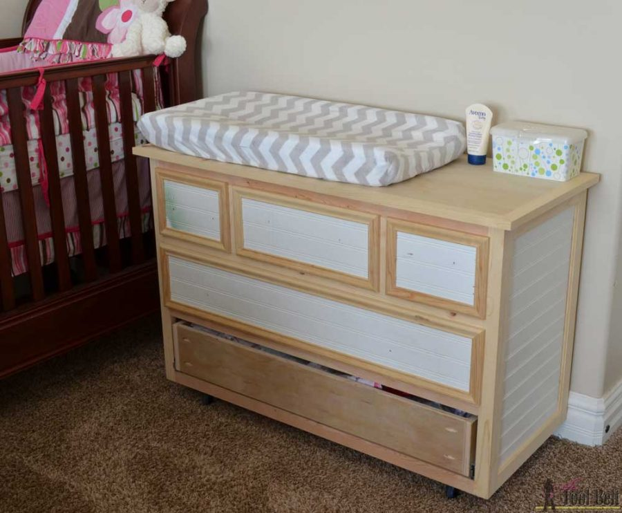 Unfinished - Free plans to build a DIY 5 drawer dresser/changing table with bead board detail.