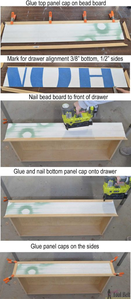 Free plans to build a DIY 5 drawer dresser/changing table with bead board detail. changing-table-drawer-front-assembly