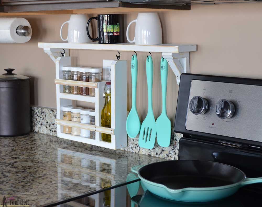 Kitchen Backsplash Shelf and Organizer - Her Tool Belt