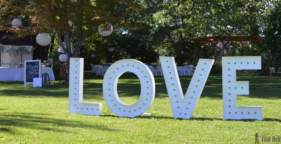 DIY LOVE marquee sign perfect for weddings.