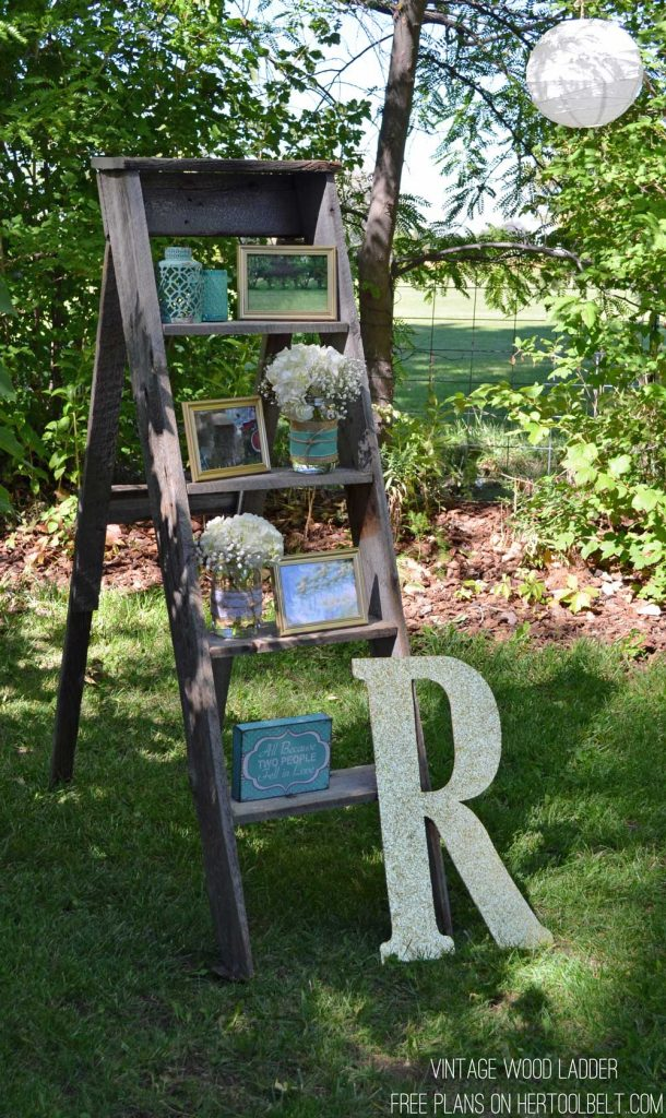 Free plans to build a DIY decorative vintage wood ladder. This vintage inspired ladder makes a unique display for weddings and home decor.