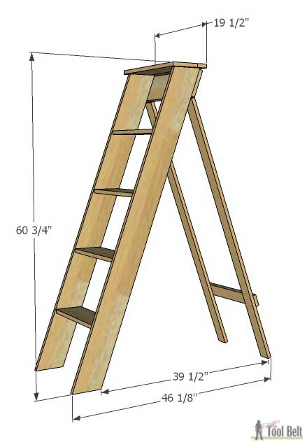 Diy decorative vintage wood ladder her tool belt - Ladder plant stand plans free ...
