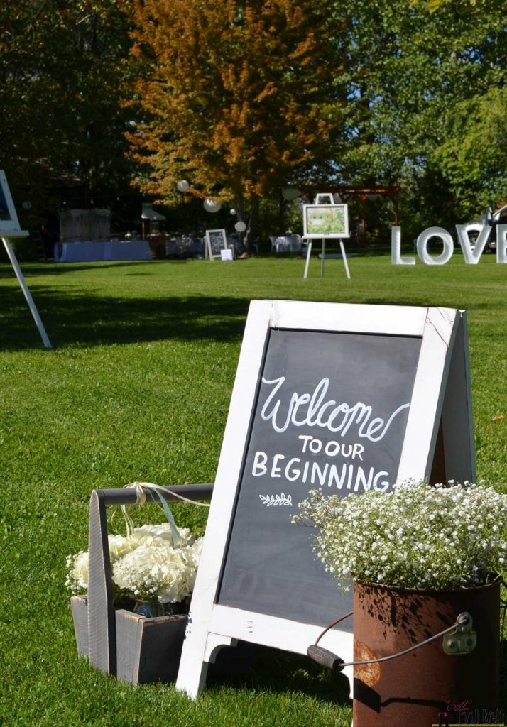 "Wedding entrance 'Welcome to Our beginning"" with a DIY chalkboard easel."