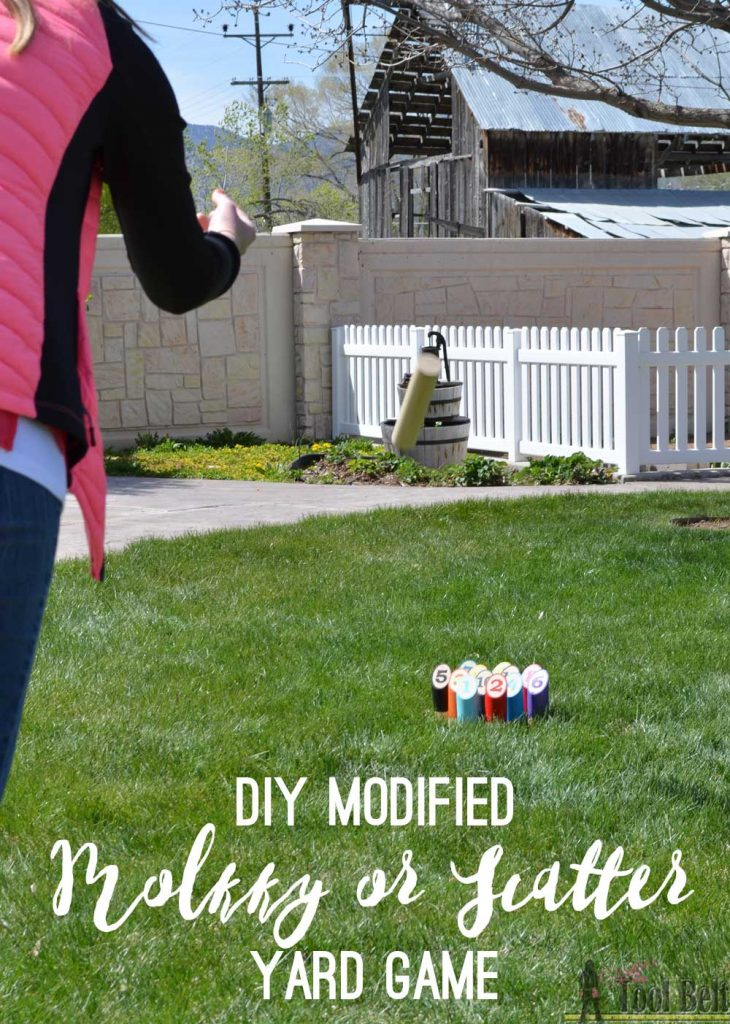 This would be so fun on the beach! DIY modified Molkky or Scattered yard game.