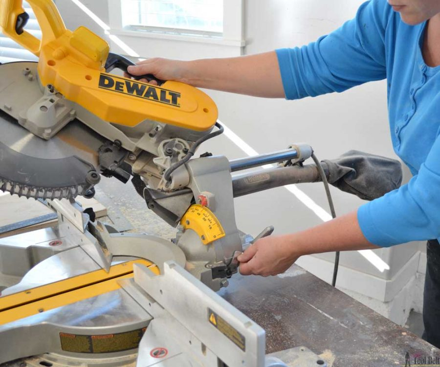 "How to use a DeWALT 12"" sliding compound miter saw. Bevel angle detent overide."