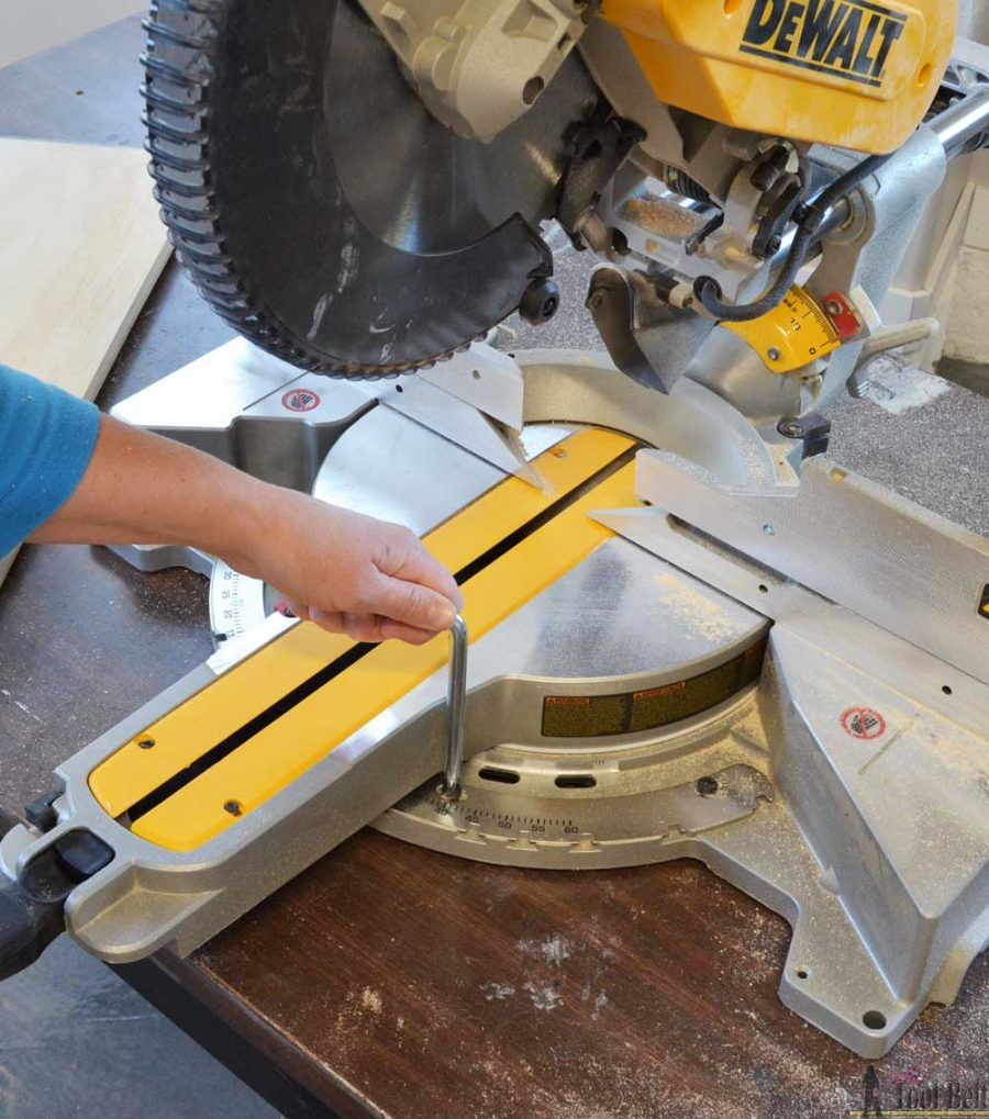 "How to use a DeWALT 12"" sliding compound miter saw. Adjusting the miter angle accuracy."