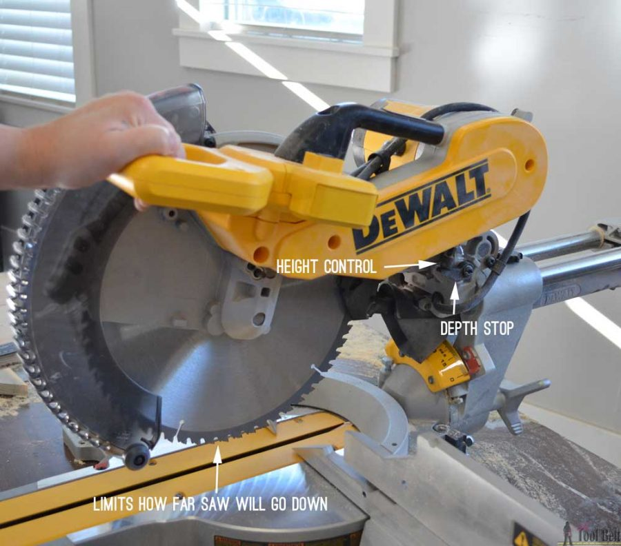 "How to use a DeWALT 12"" sliding compound miter saw. Depth stop capability"