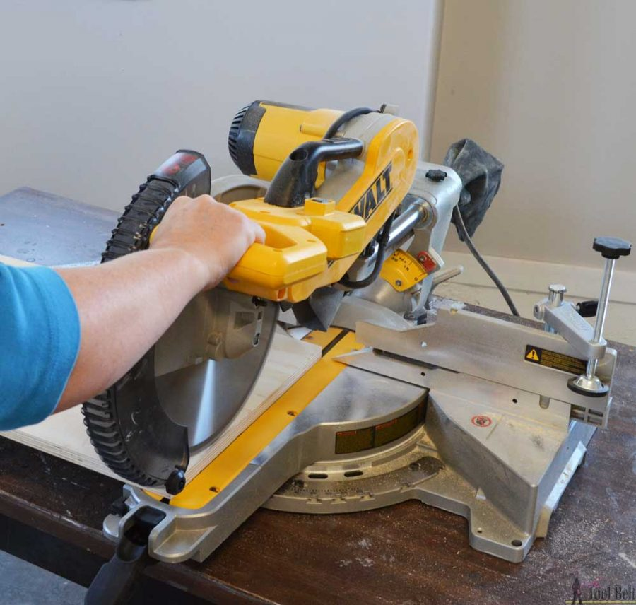 "How to use a DeWALT 12"" sliding compound miter saw. Cutting a max width board."