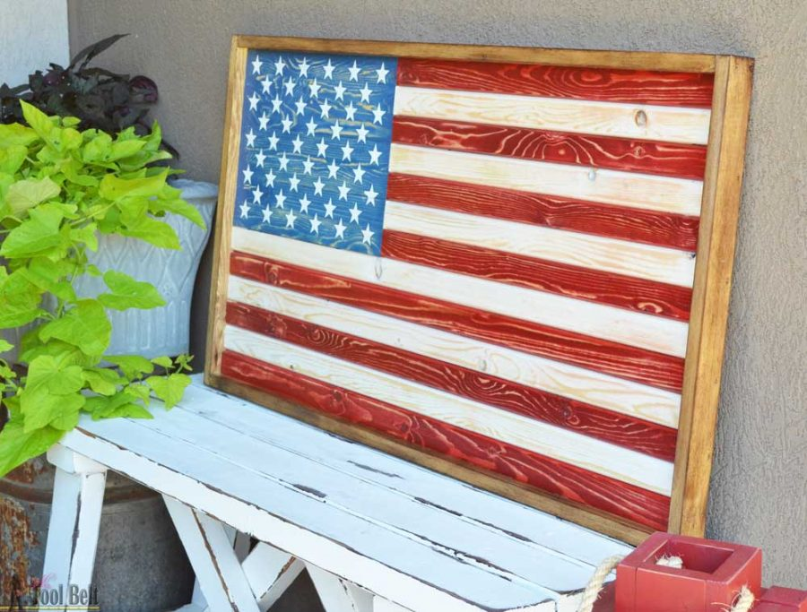 Easy patriotic rustic wood flag sign, the lumber will only cost about $9! Free plans and tutorial.