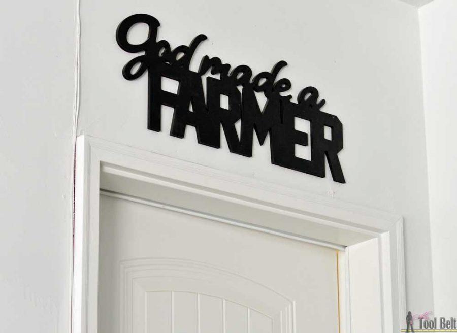 God made a Farmer. DIY shiplap wall look.