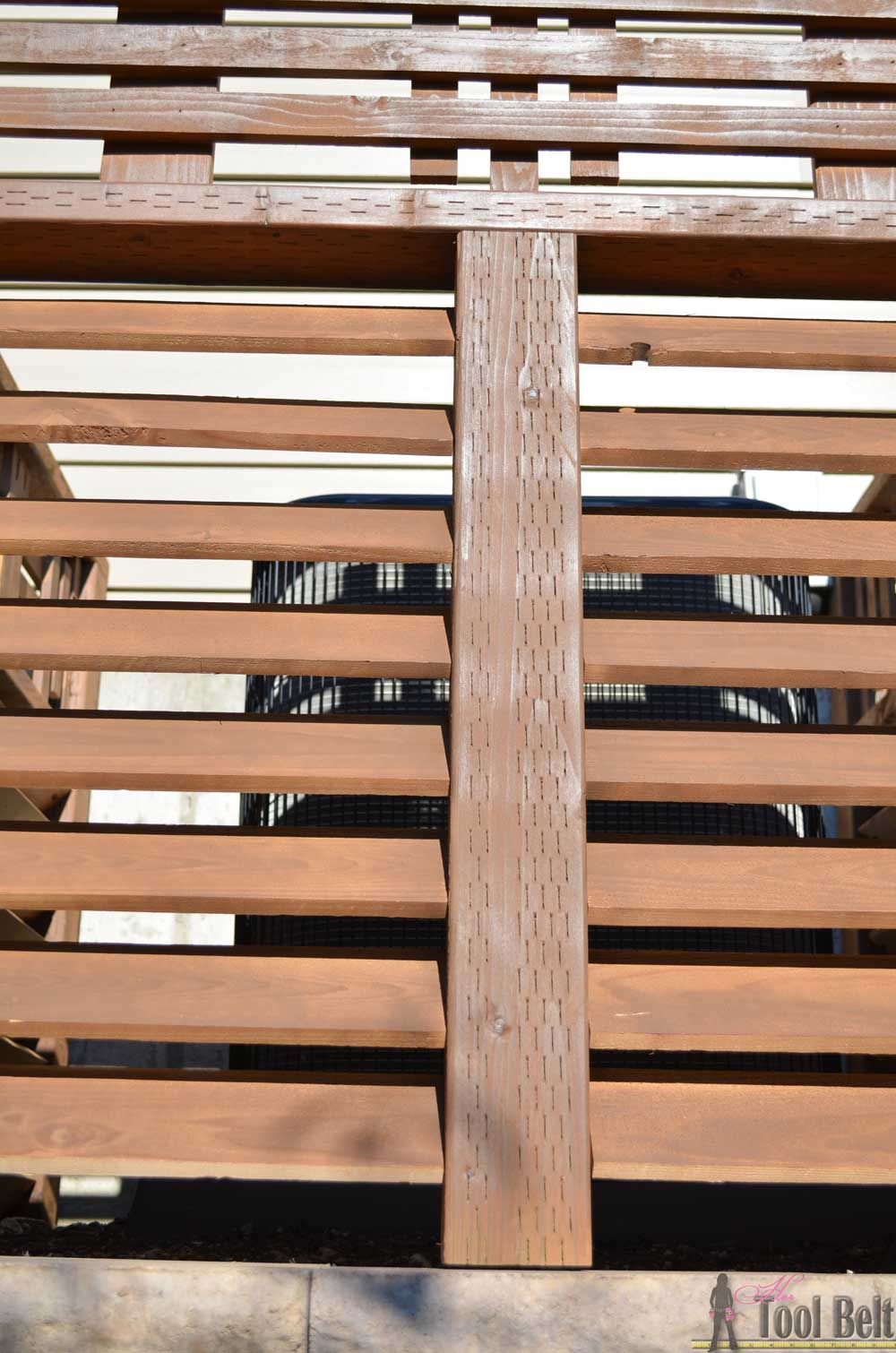 Decorative Wood Screens ~ Wood louver a c unit screen her tool belt