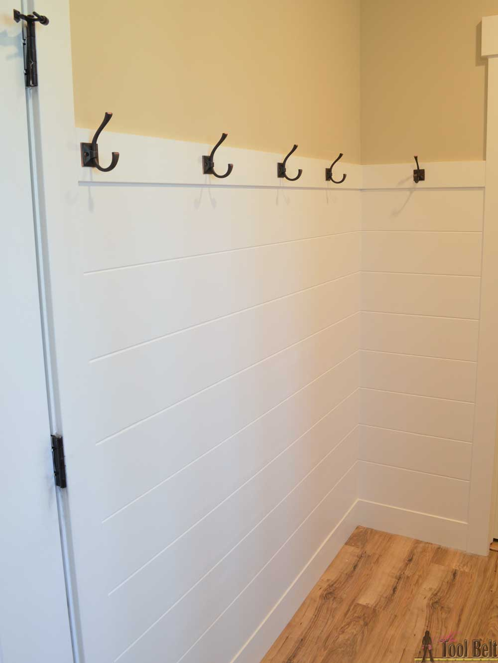 Faux Shiplap Wall Panel In Mudroom Cove