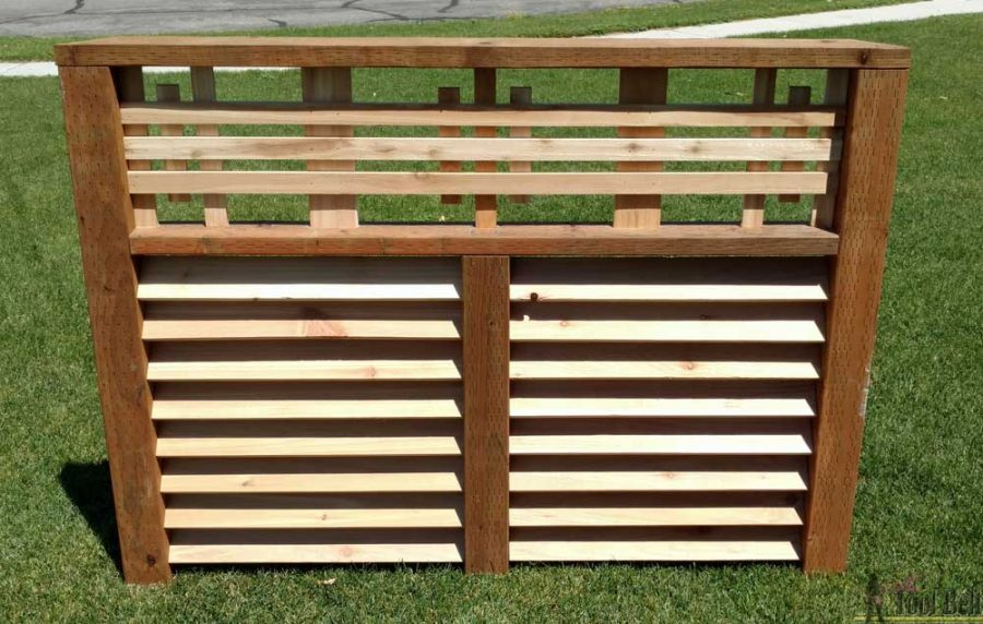 Hide that unsightly A/C unit or pool equipment with a decorative wood screen. The louver wood slats allow for air flow to the unit. Free plans and tutorial.