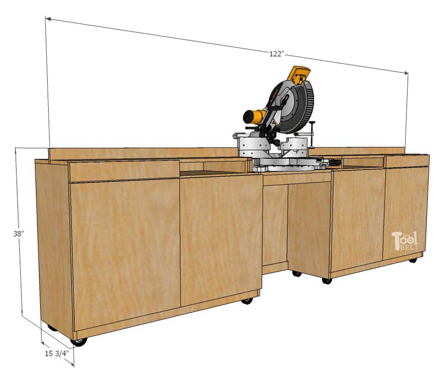 Miter Saw Station And Storage Cabinet Dimensions Her