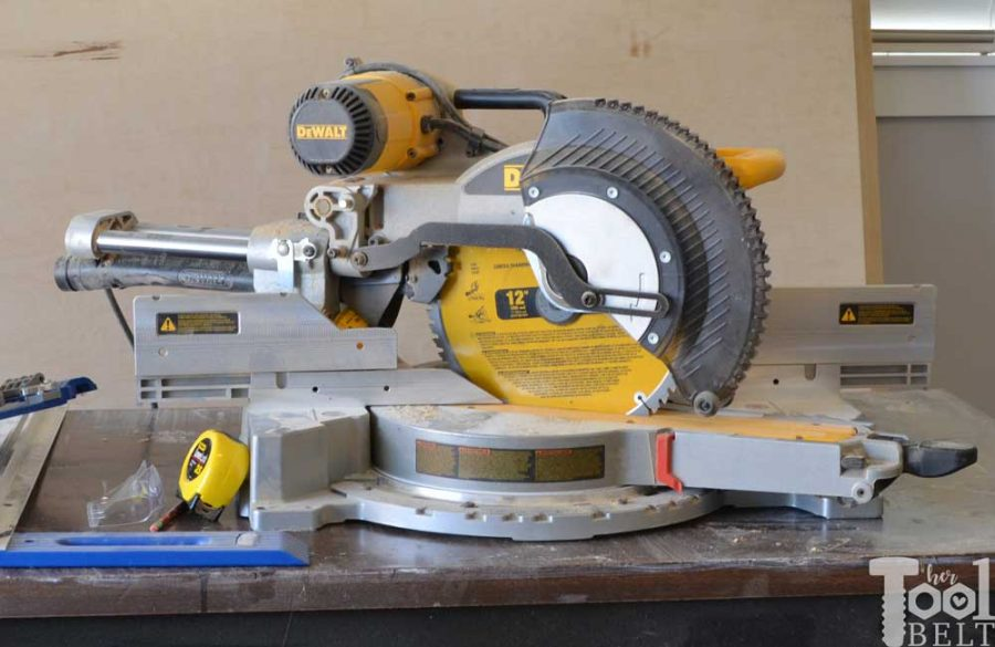 A miter saw station with all the bells and whistles. There is plenty of work space, stop blocks and loads of storage! Free building plans that can be adjusted to any miter saw.