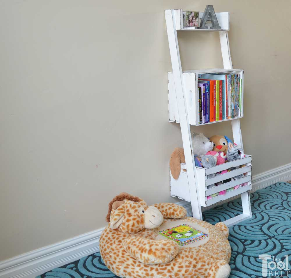 Easy crate leaning shelf and storage her tool belt oh this would be super easy to make build a leaning storage and bookshelf with solutioingenieria Choice Image