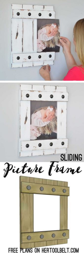 Change out your photo prints super easy with a sliding farmhouse style frame. Make these cute frames out of wood with free plans