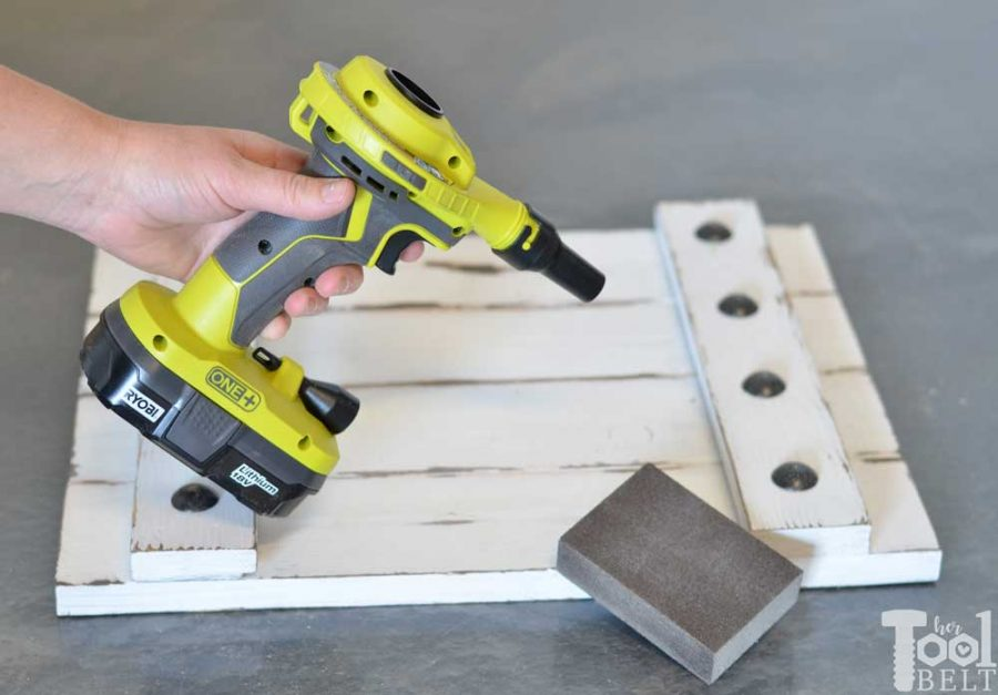 Ryobi high volume inflator tool review. Blow off sawdust after sanding.
