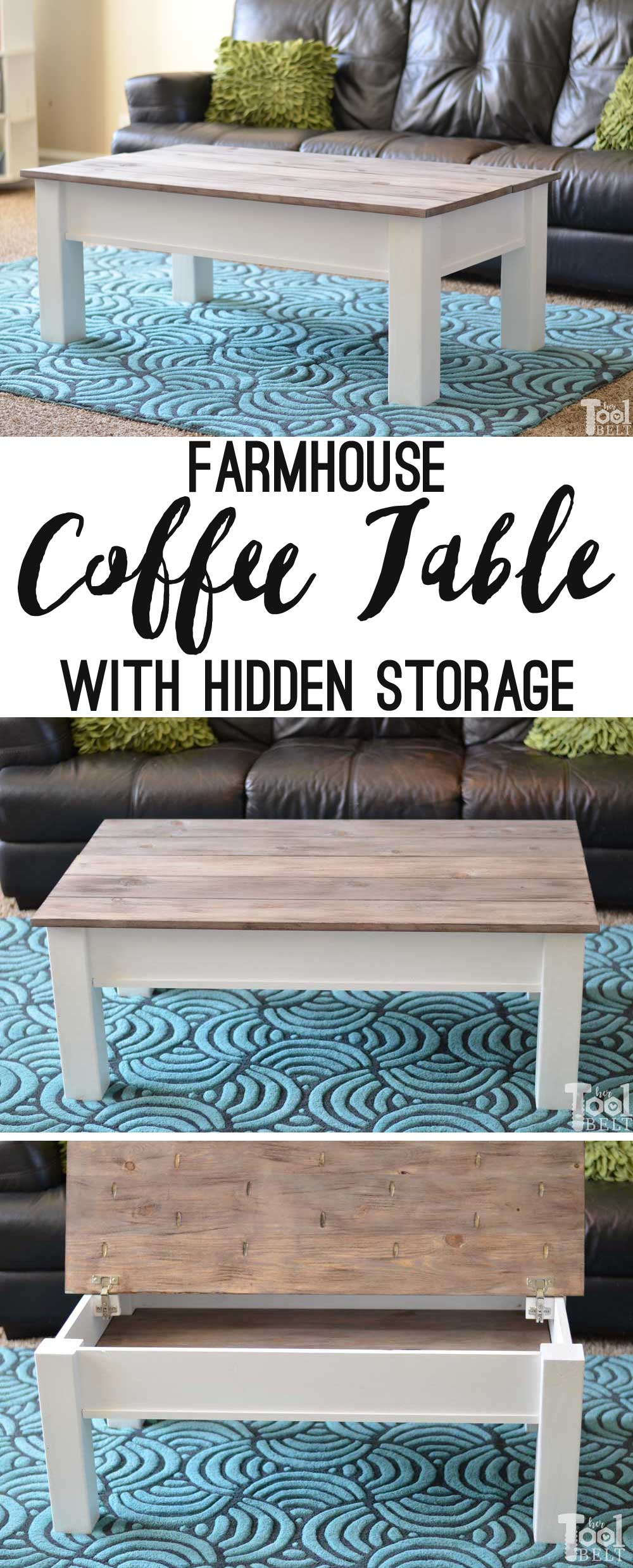 farmhouse coffee table with hidden storage her tool belt. Black Bedroom Furniture Sets. Home Design Ideas