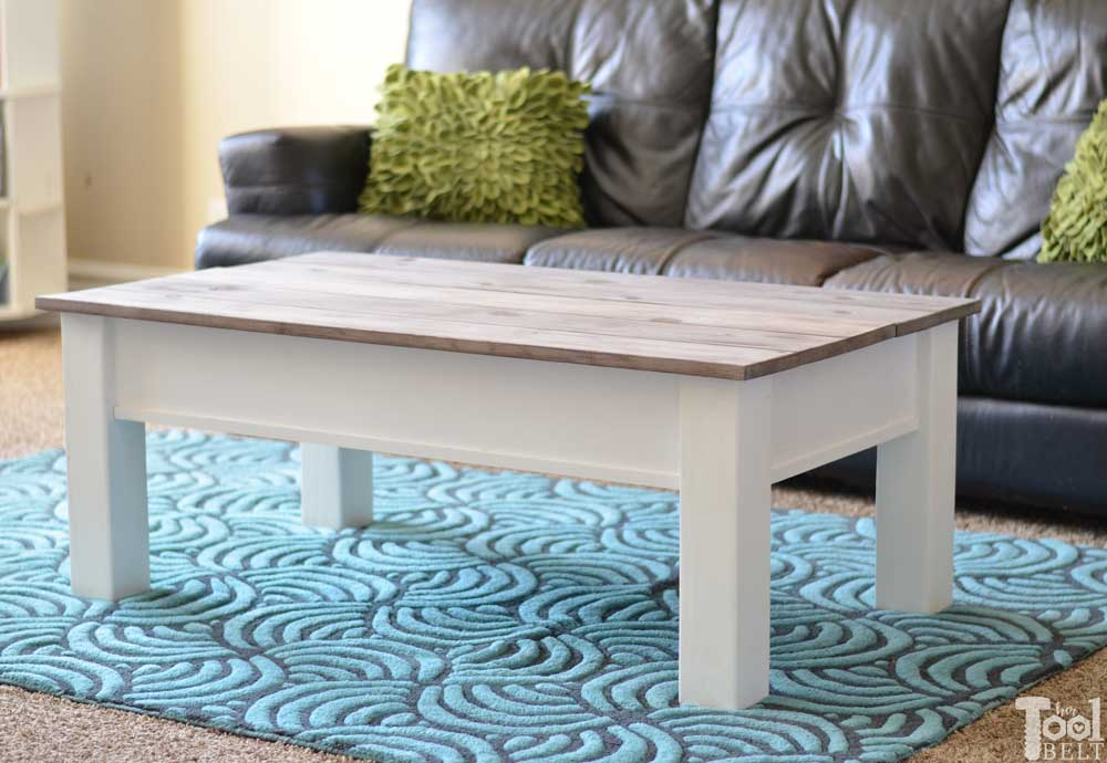 Simple Farmhouse Style Coffee Table With Weathered Wood Top. This Coffee  Table Has A Hidden
