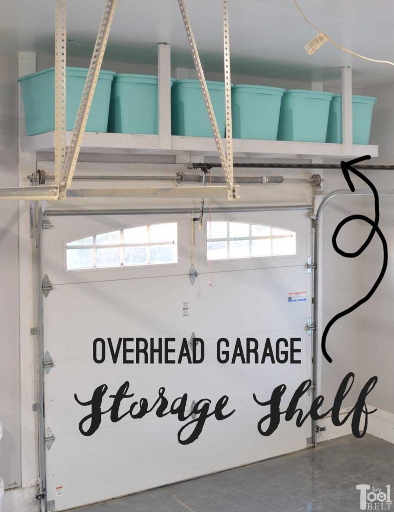 Take advantage of that empty space above your garage door. Build an overhead garage storage shelf perfect for seasonal storage items. Free plans