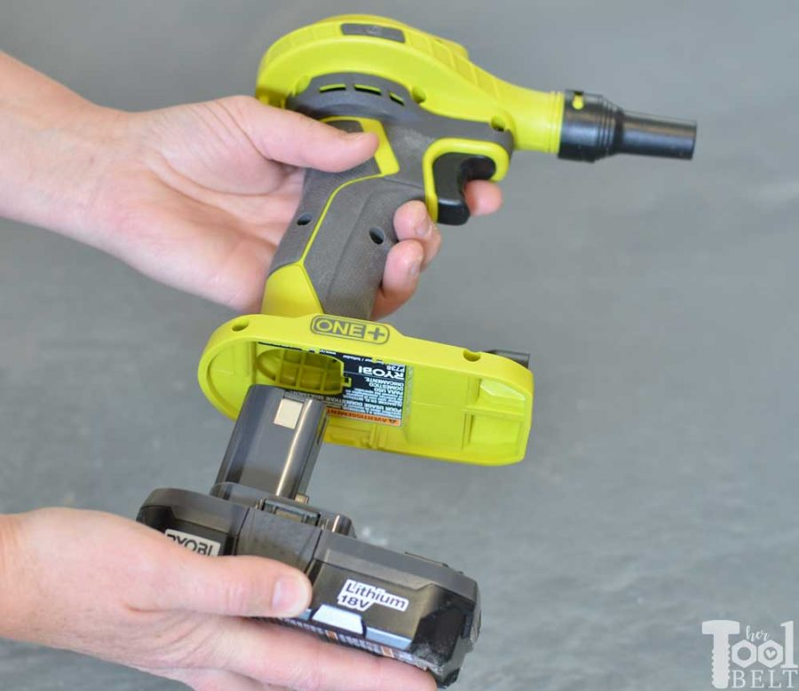 Ryobi high volume inflator tool review. Install battery.