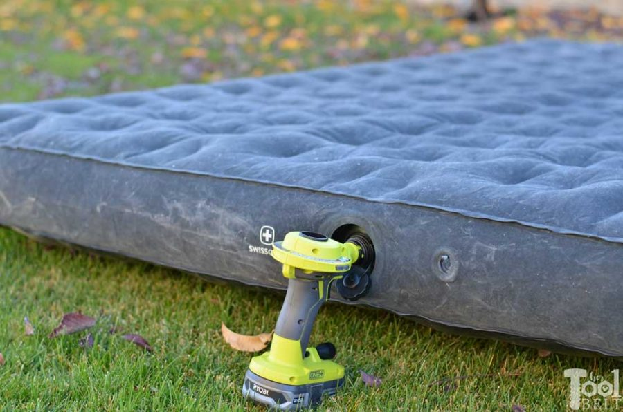 Ryobi high volume inflator tool review. Blow up air mattress - hands free.